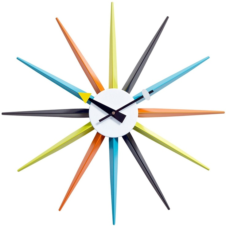 A mid century clock for above the family room fireplace or above the kitchen desk.  Sunburst Clock by LexMod. $48: Modern, Sunburst Wall, Blue Green, Mid Century, Eei 773, Wall Clocks, Midcentury, Products