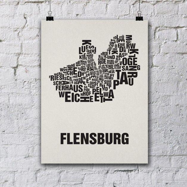 Siebdruck - Flensburg Siebdruck Poster Typografie - ein Designerstück von buchstabenorte bei DaWanda