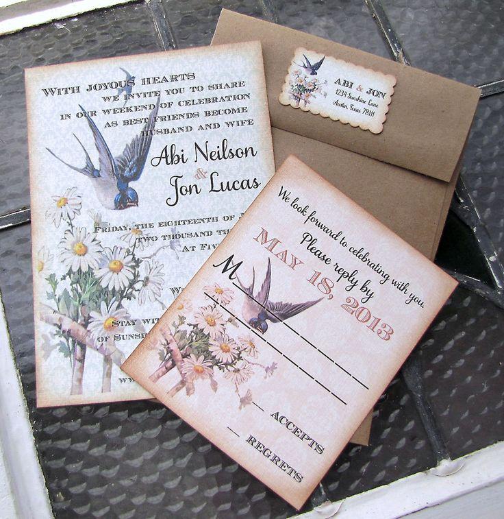 vintage country garden wedding invitations%0A Vintage Wedding Invitation Blue Bird of Happiness Garden Wedding