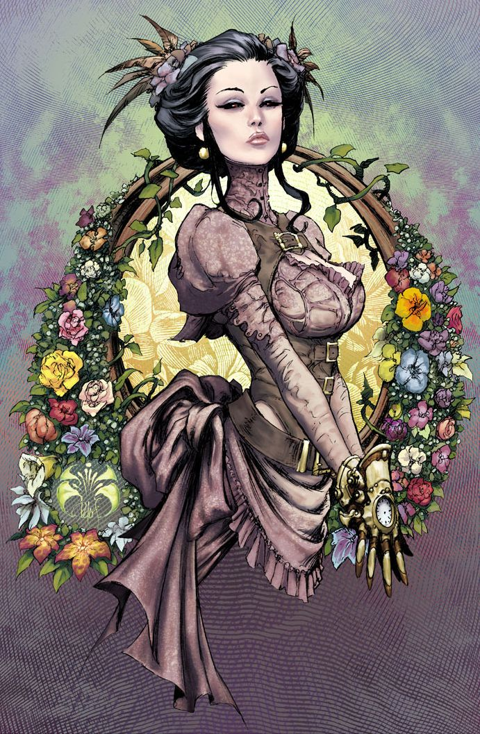 So very steampunk and a lovely depiction of the faux era style, at that. (Lady Mechanika Spring Flowers 2012 by joebenitez via deviantart)