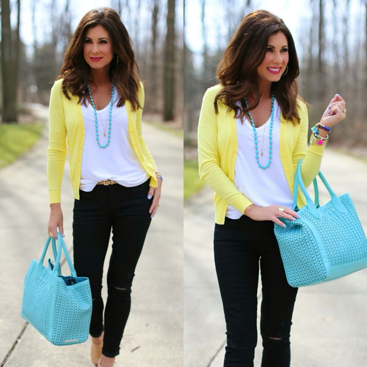 Spring Cardigan • Yellow + Turquoise
