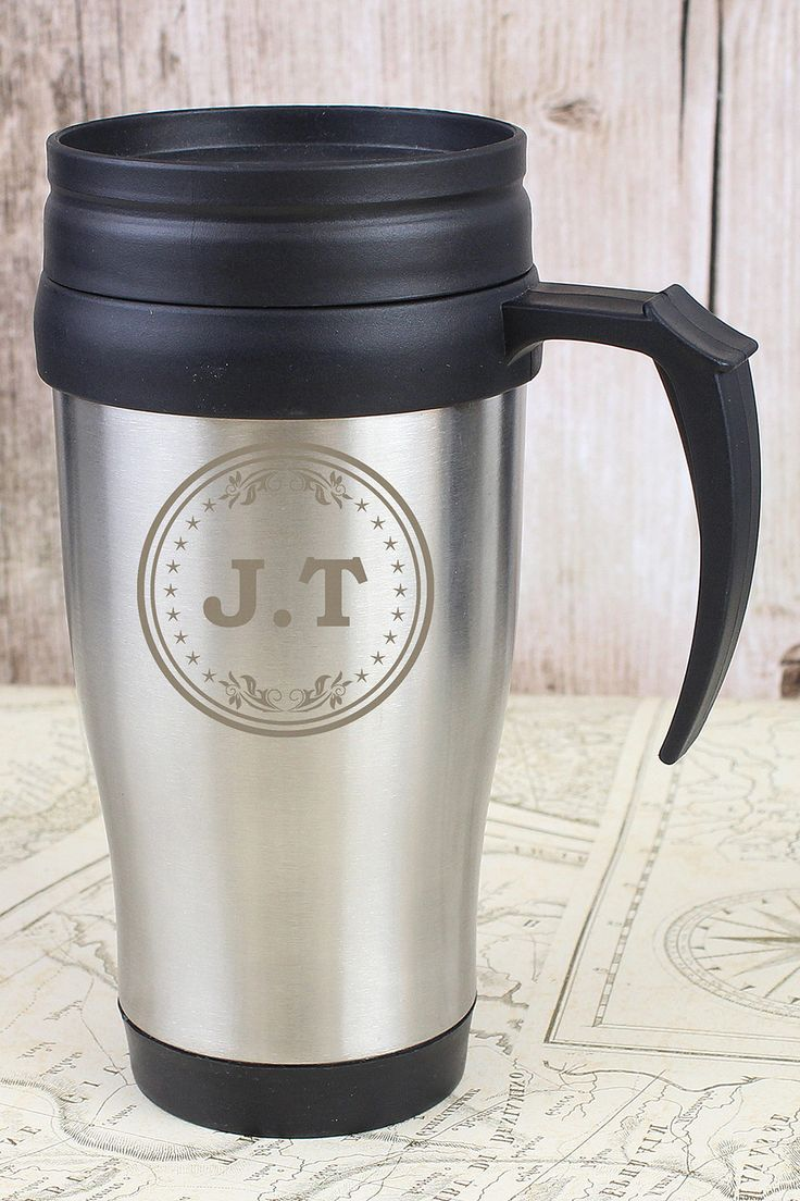 Personalised Monogram Travel Mug £17  Hardwearing and durable travel mug to keep drinks hot or cold. It has a sliding sip cover, screw lid top, strong plastic handle and insulated plastic inner. 400ml capacity. Personalise with initials up to 3 letters with 2 full stops   KLife