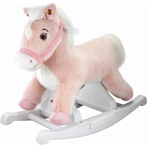 rockin 39 rider pony rocker animated plush rocking horse pink baby shower ideas plush rocking. Black Bedroom Furniture Sets. Home Design Ideas
