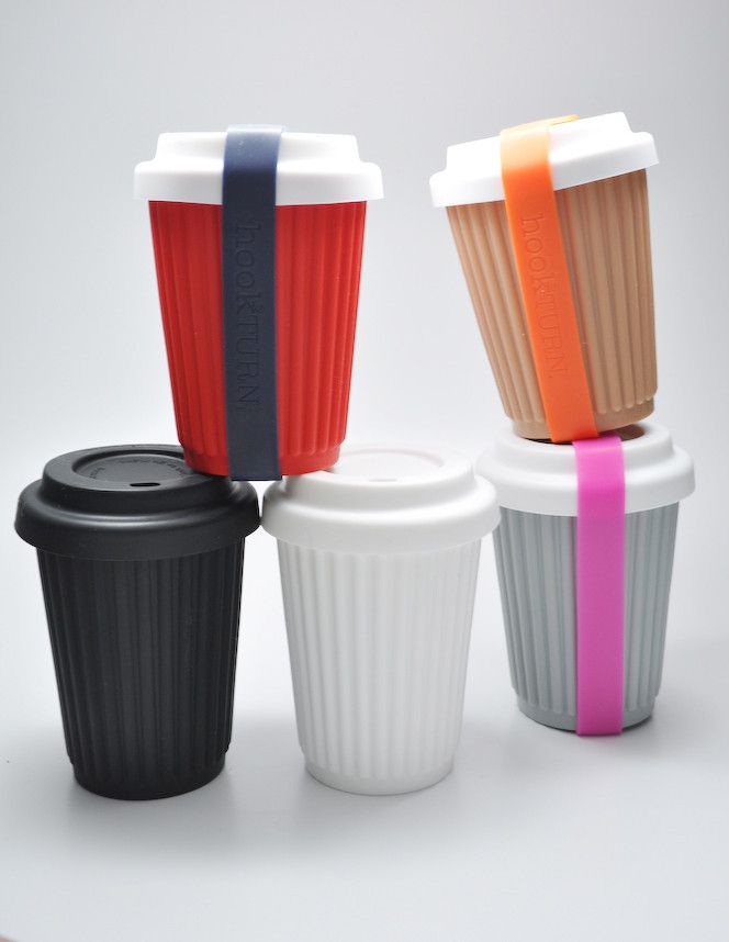 BYO reusable coffee cup. Cool, but not too sure about the strap. I want the white cup with the black lid!