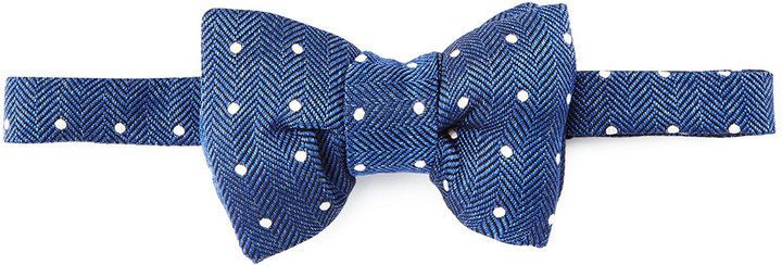 $250, Tom Ford Herringbone Polka Dot Bow Tie Blue. Sold by Neiman Marcus. Click for more info: https://lookastic.com/men/shop_items/321656/redirect
