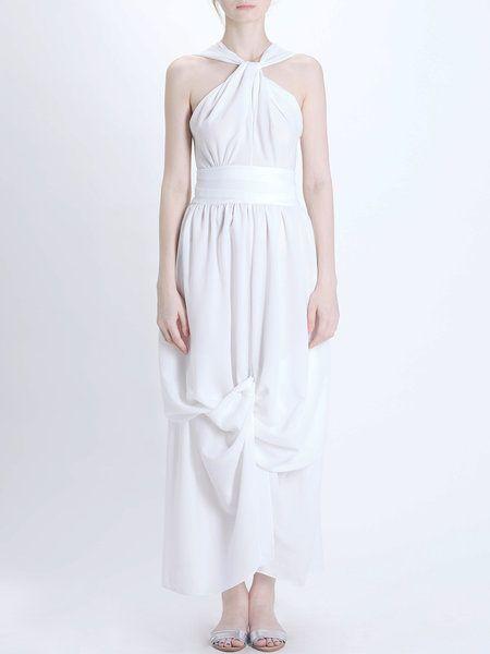 Shop Maxi Dresses - Plain Gathered Sexy Sheath Sleeveless Evening Dress online…
