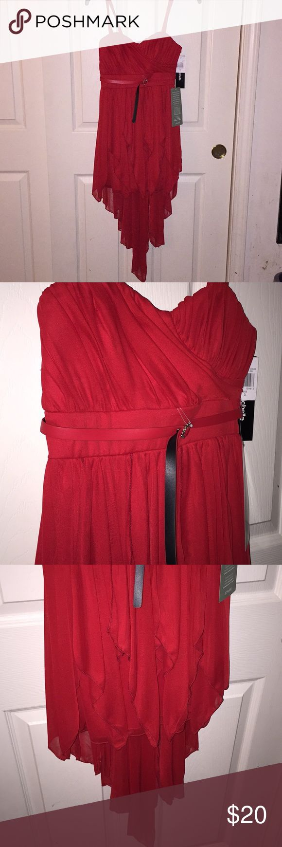 Red JcPenney Homecoming/Formal Dress Red belted homecoming/formal dress with thin straps. Hi-Lo dress (long at the back and shorter at the front). Never worn, with tags. Message me/Comment if you want to see it modeled! jcpenney Dresses High Low