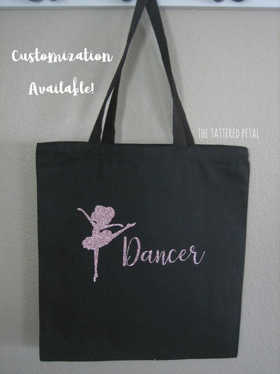 Dance Bag Personalized Tote Customized Glitter