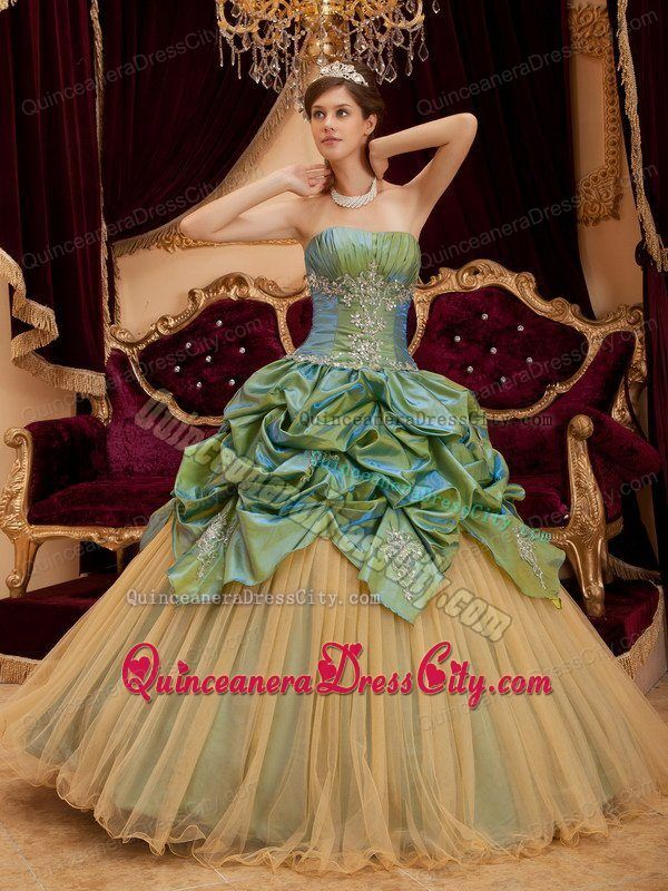 2013 New Olive Green Quinceanera Gown with Appliques and Pick ups - http://m.quinceaneradresscity.com