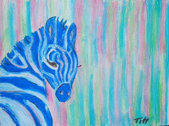 Zebra in rainbow