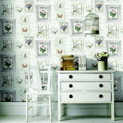 Fresco Floral Frames Wallpaper