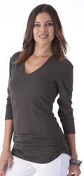 Ruched V-Neck Tee | Tall Women's Clothes, Ladies Clothing & Apparel by Long Elegant Legs