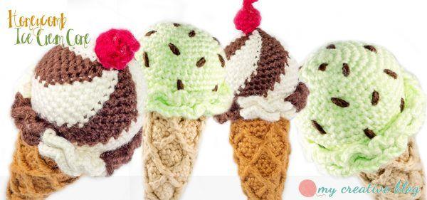 My Creative Blog - Honeycomb Ice Cream Cone, #crochet, free pattern, amigurumi, food, play, #haken, gratis patroon (Engels), ijsje, schepijs, hoorntje, voedsel, eten, speelgoed, #haakpatroon