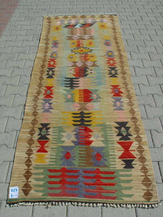 Turkish Kilim Hand Woven Rug Runner Carpet by TurkishCraftsArts