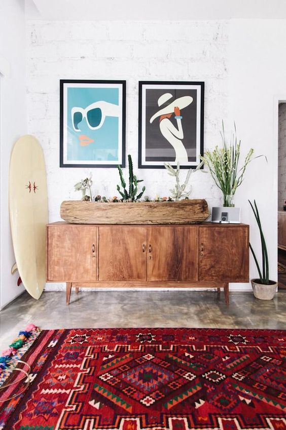 This Californian-style bungalow feels elevated with eye-catching art, midcentury modern furniture and a Moroccan printed rug