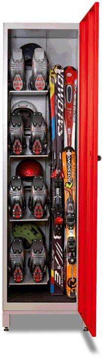Ski locker with shelf for helmet