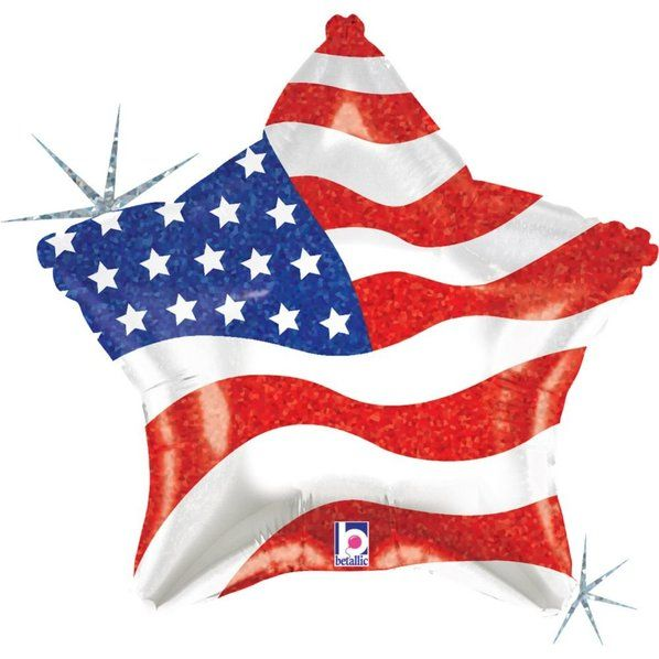 Check out Patriotic Star 19 Foil Balloon (Each) - Bargain Balloons Accessories…
