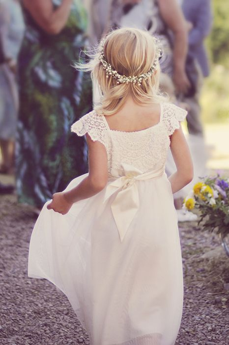 Beautiful crochet flower girl dress & babys breath floral crown @ My barn wedding