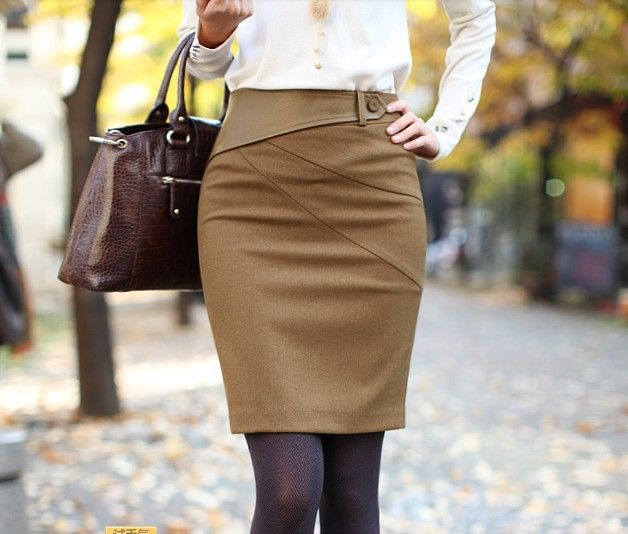 2014 Fashion Women's Winter Slim Hip Knee-Length Pencil Skirt Camel Black Color High Waist Leather Belt Career Skirts $15.80