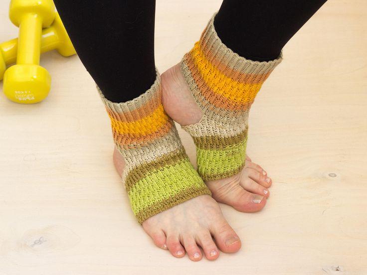 Yellow green cotton yoga socks Cotton ankle warmers (Merinda) Dance socks Bright toeless socks Yoga gift Yoga wear Sport wear Yoga gift idea by MarooSocks on Etsy
