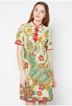 Indonesian Batik dress cheongsam style