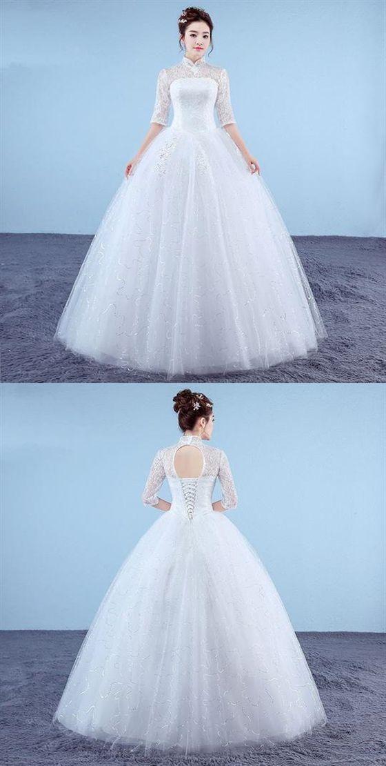 High Neck Half Sleeves Lace Wedding Dresses,Backless Bridal Dresses