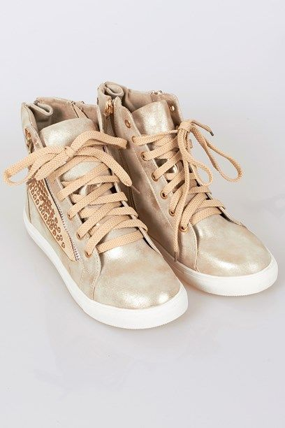 MARIAN SKO - Goldy basketball sneakers with faux diamond studs.