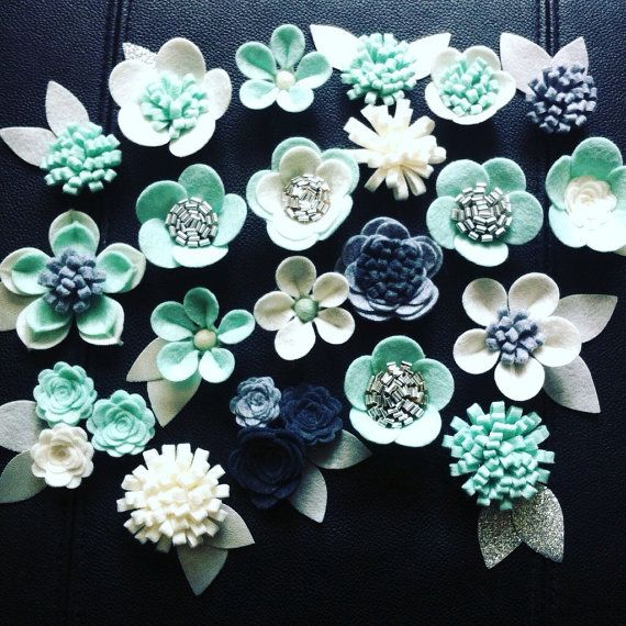 25 Hand made felt 3d flowers/roses & 30 leaves.For by cutzbothways