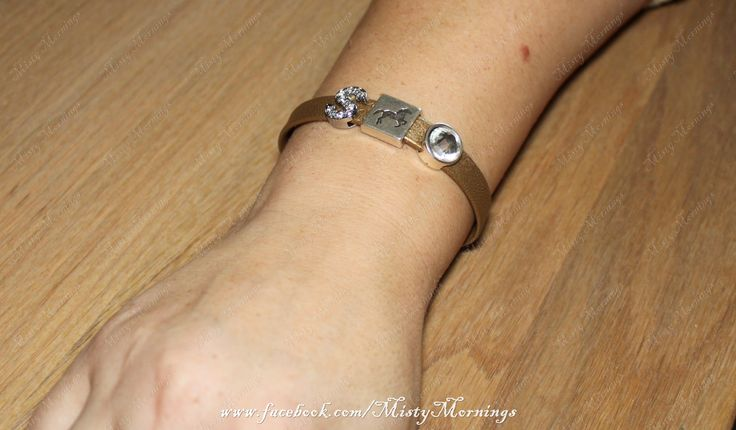 Leather bracelet with slide charms www.facebook.com/MistyMornings