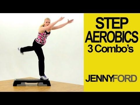▶ Step Aerobics Basic w/3 Combos-Fitness Cardio Workout -- Jenny Ford - YouTube