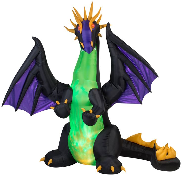 Projection Animated Airblown Fire and Ice Mixed Dragon Halloween Inflatable