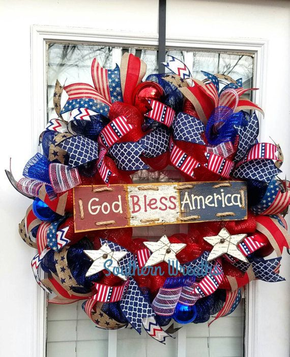 Check out this item in my Etsy shop https://www.etsy.com/listing/513580169/patriotic-door-wreath-july-4th-wreath