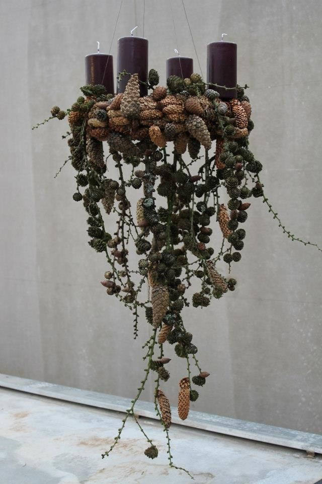 Pine cones and candle chandelier