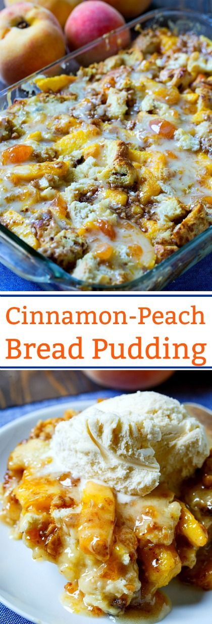 Cinnamon-Peach Bread Pudding