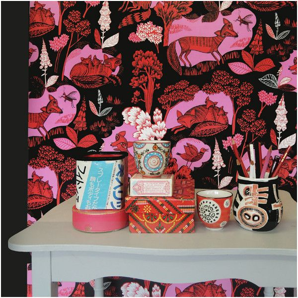 Fox & Cubs wallpaper - Red – Lush Designs  GBP24/10m roll (on sale)