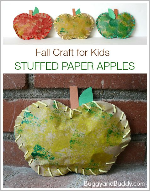Love the use of sponge stamping and lacing in this fall craft for kids! (Stuffed Paper Apples)~ buggyandbuddy.com