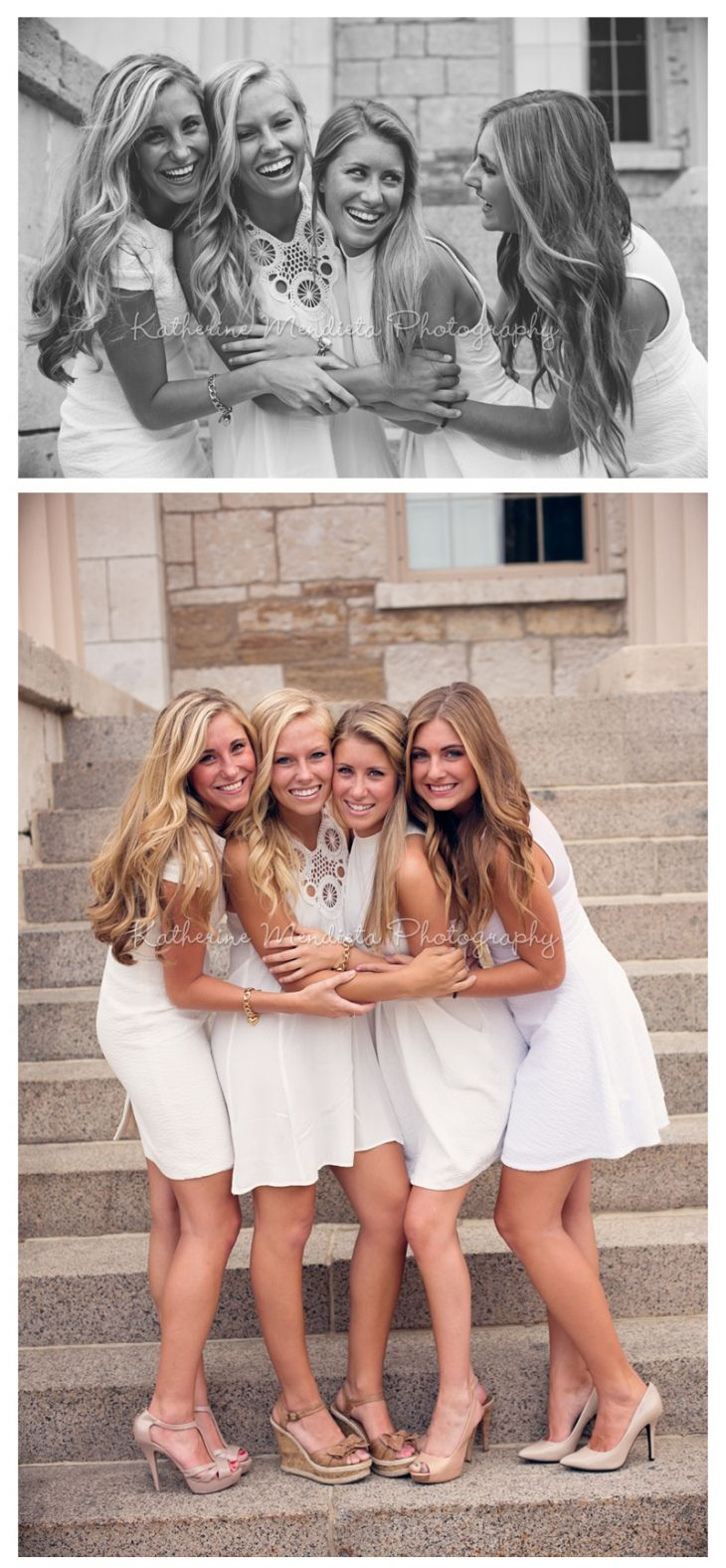 Chi Omega's in pretty white dresses and nude heels. Cute recruitment outfits! Laughter and Smiles. photo by Chi Omega alumna @Katherine Mendieta Photography #chiomega #chio #recruitment