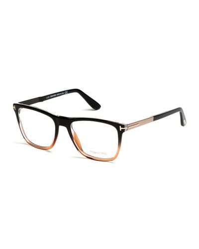 N3FGJ TOM FORD Square Gradient-Frame Eyeglasses, Black/Brown
