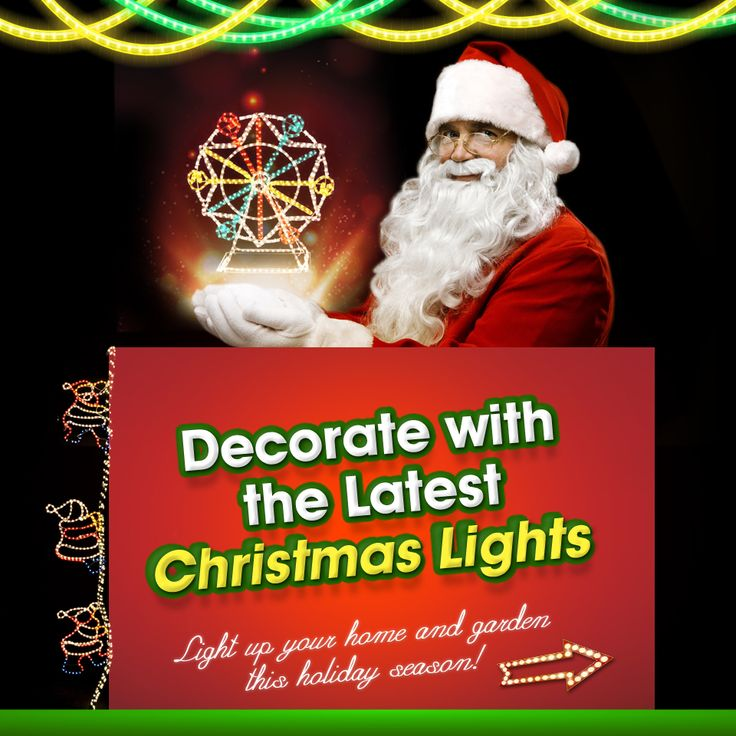 Decorate your home and garden with the latest Christmas lights. #Christmas #Decorations #Lights