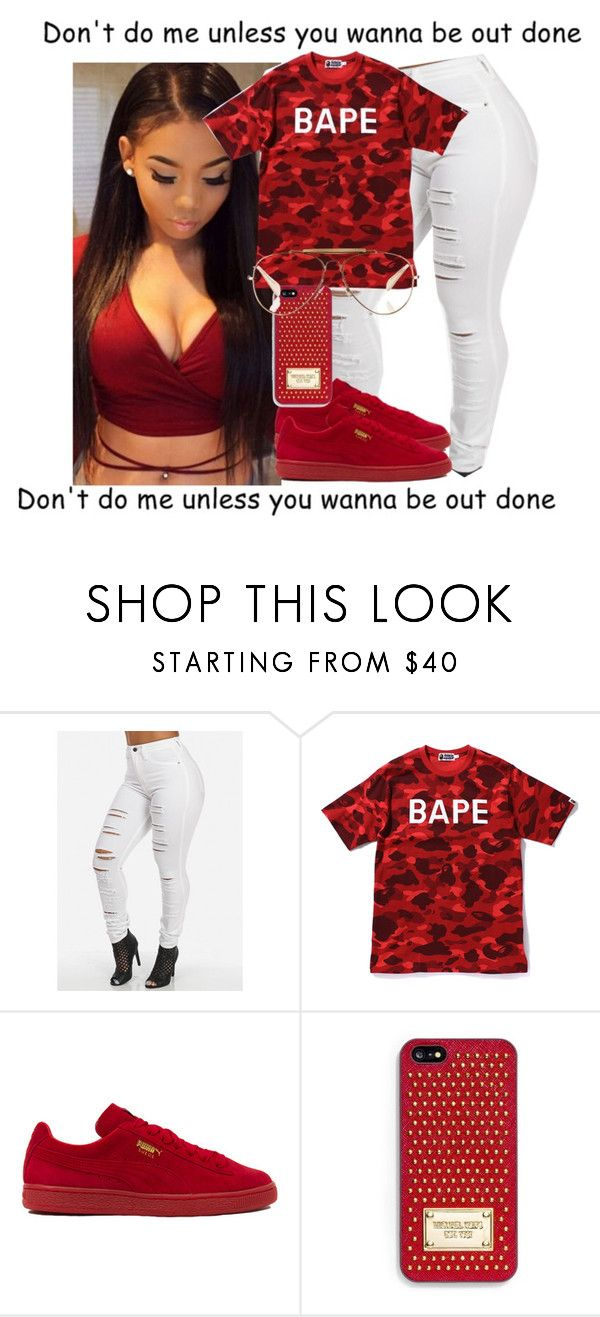 """""""Better the Bape"""" by misskera ❤ liked on Polyvore featuring A BATHING APE, Puma, MICHAEL Michael Kors and CÉLINE"""