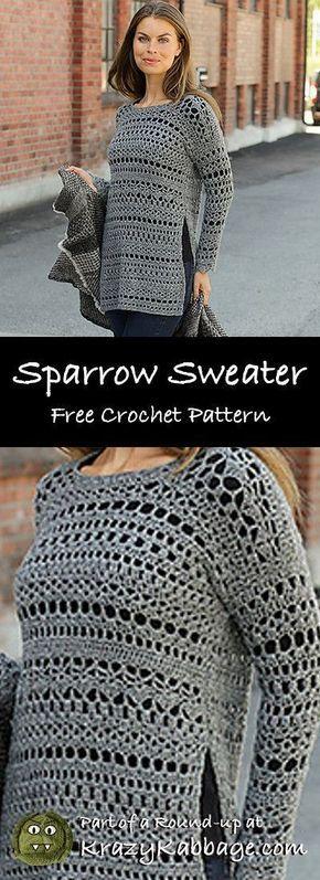 Free Crochet Sweater Patterns – Krazy Kabbage #crochet #freecrochetpattern #sw... 17
