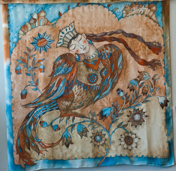 Hand Painted Silk Scarf Wall Hanging Original Painting  Sirin