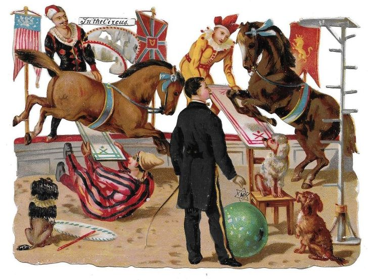 Victorian Die Cut Scrap Horses, Dogs, and Clowns In the Circus.  American Banner: