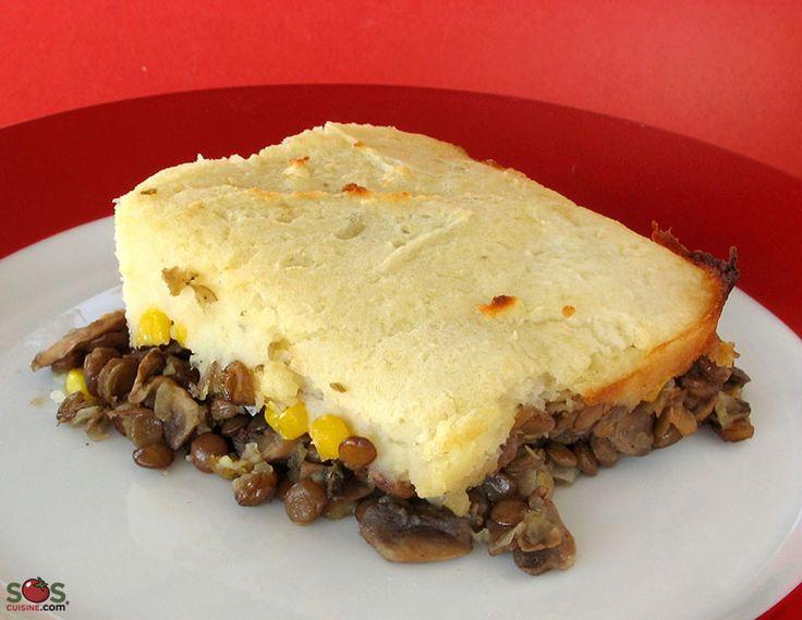 SOSCuisine: Pâté chinois aux lentilles #Lentilles, #oignons, #champignons et maïs, recouverts d'une purée de pommes de terre, le tout doré au four
