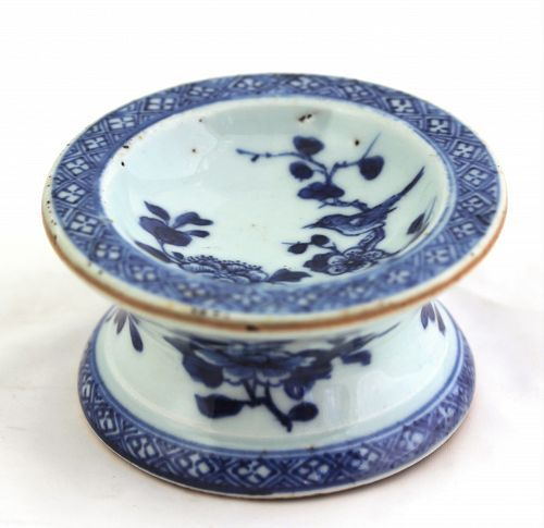 """Chinese Export Nanking Blue and White porcelain round Salt Cellar, 3 1/4"""" diameter-top, 1 3/4"""" high,late Qianlong, before 1800, with underglaze blue Peony flowering trees in rock garden on top, and side. ==> https://www.trocadero.com/stores/lillyparkerantiques/items/1361094/Chinese-Export-Nanking-Porcelain-Salt-Cellar"""