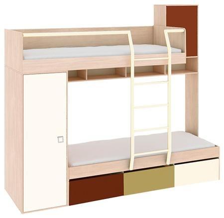 Трия Кровать двухъярусная «тетрис» пм-154.01  — 25990р. -------- Эта модель — не просто двухъярусная кровать. Она оснащена дополнительными элементами, существенно повышающими функциональность комплекта. Легко выдвигающиеся ящики, расположенные в основании нижнего спального места, антресольная полка и боковой шкаф позволяют хранить в них постельные и школьные принадлежности, одежду, бельё, игрушки и другие вещи. Гарантийный срок: 24 месяца Срок службы: 10 лет Количество дверей: 2 Количество…