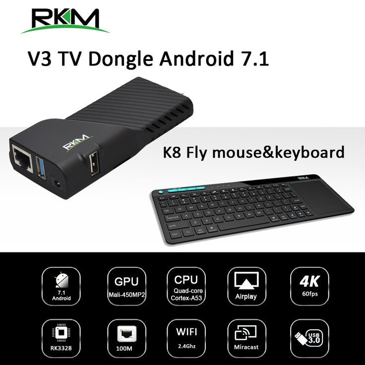 Find More Set-top Boxes Information about RK3328 Rockchip Android 7.1 TV BOX 2GB 8GB 2.4G WIFI 100M   Media player & fly mouse with keyboard RKM V3+K8,High Quality smart tv box,China smart tv Suppliers, Cheap smart tv tv box from Rikomagic MK802 family Store on Aliexpress.com
