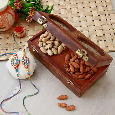 Colorful Beaded Rakhi Set of 2 with Dry Fruits in Designer Wooden Dry Fruit Box