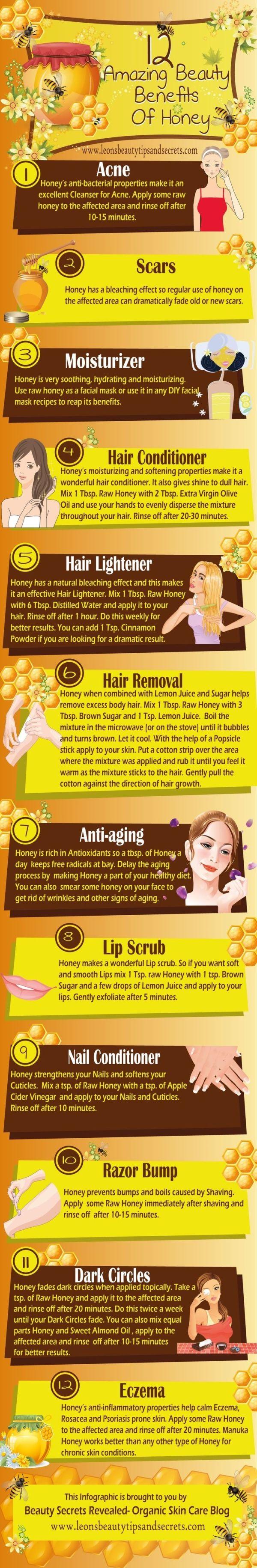 12 Amazing Beauty Benefits Of Honey Honey for eczema, acne, hair, wrinkles, scars, dark circles by echkbet