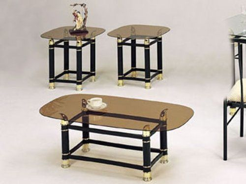 3pc coffeeend table set with smokey glass ac by hpp
